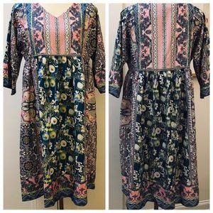 MISSLOOK Babydoll Dress Printed V-Neck Kimono Slv